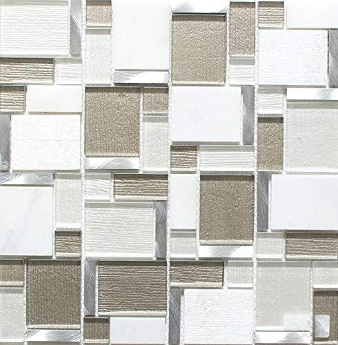 alluminio Tessere di mosaico bianca Beige chiaro Bicchiere di cristallo