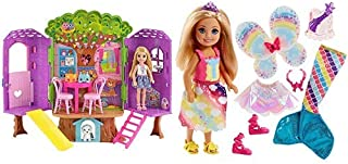 Barbie Club Chelsea Treehouse House Playset AND Barbie Dreamtopia Rainbow Cove Chelsea Doll And Fashions Set, Blonde
