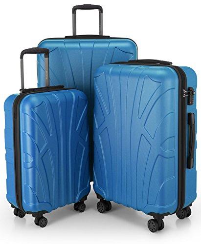 SUITLINE - Set di 3 valigie, Valigie da viaggio, trolley, Valigie con guscio rigido, TSA, (55 cm, 66 cm, 76 cm), 100% ABS, opaco, Ciano