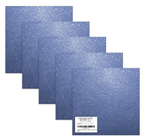 """Light Blue Glitter Adhesive Vinyl, 12"""" x 12"""" Ultra Glitter Vinyl Sheets for Silhouette Cameo Portrait, Maker, Explore, Stickers, Decals, Crafts by StyleTech x Turner Moore Edition (Light Blue, 5-pk)"""