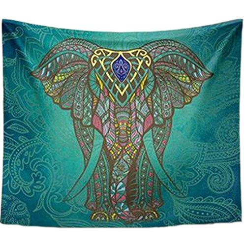 XXGI Indischer Elefant Tapisserie Baum Des Lebens Floral Tapisserie Wandbehang Picknickdecke Decke Tagesdecke Vorhang Dekoration Tisch Strand Sofa Abdeckung (203*153Cm/79.92*60.24Inch)