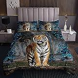 richhome Wildlife Tiger - Juego de funda de edredón para adultos y adolescentes (microfibra, suave, 3 piezas, con 2 fundas de almohada)