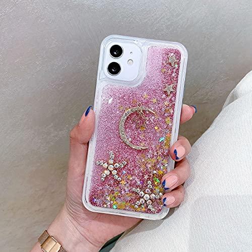 Miagon Liquid Quicksand Case for Samsung Galaxy S21 Plus,Glitter Floating Sparkle Bling Transparent Diamond 3D Cute Case,Moon Star Pink