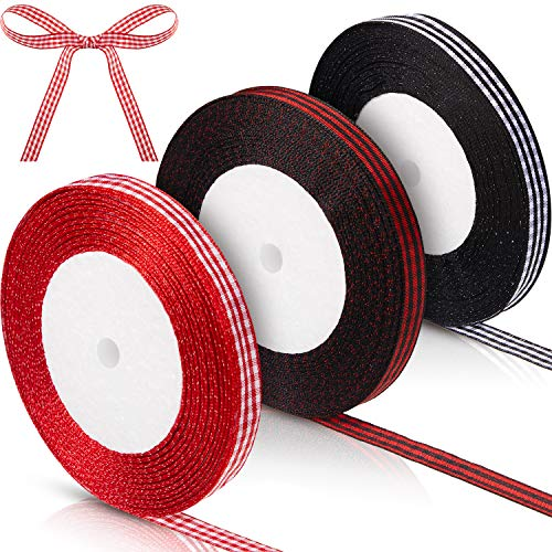 75 Yards Gingham Ribbon Checkered Craft Ribbons Plaid Ribbon Christmas Cake Gift Wrapping Ribbon for DIY Handmade Art Project Christmas Home Decoration, 3 Rolls and 3 Colors