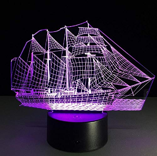 Illusion Lamp Led Night Light 3D Sailing Boat Acrylic 3D Stereo Vision Lamp 7 Color Change Lamp Remote Ouch Switch Bedroom Bedside Lamp for Kid's Gift