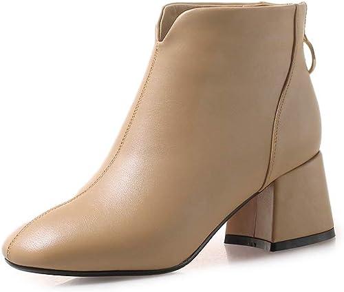 Shukun Botines zapatos de Invierno de Las mujeres con botas de Martin