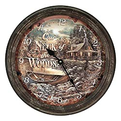 River's Edge Products Round Wall Clock, 15 Inch Diameter Tin Frame, Distressed Analog Clock, Neck of The Woods