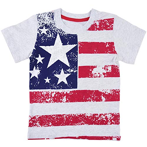 Infant Baby American Flag Printed Short Sleeve Shirts Novelty Pattern Cotton T-Shirt Tops Tee 2 3 T