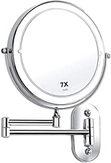 Makeup Mirror, Wall Mount LED Lighted 10X Magnifying Cosmetic Mirror 360° Swivel Extendable Two Sided Vanity Mirror, Powered by 4 x AAA Batteries 8 inch