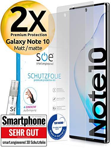 [2 Stück] Entspiegelte 3D Schutzfolien kompatibel mit Samsung Galaxy Note 10 [Made in Germany - TÜV NORD] 100{b78c9ea458f91a1b11a8ea959631195cbe96f05df48ba380056de69c3cf166b6} Fingerabdrucksensor – Hüllenfreundlich – Matt – kein Glas - Panzer-Folie TPU