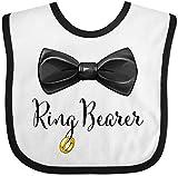 Inktastic Ring Bearer- Black Bow Tie Baby Bib White/Black
