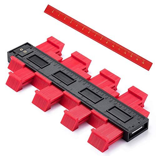 Contour Duplicator Gauge,JTENG Profilo Strumento di Misurazione,10 Pollici Professionale per la Misurazione del Profilo Strumento di Misura irregolare Profile misuratore (+1pcs Matita) (Rosso'')