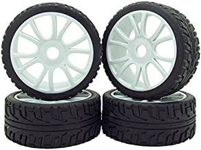 Grey 1:8 RC Buggy Hex 17mm Double 6 Spoke Wheels Rubber Tires with H Pattern