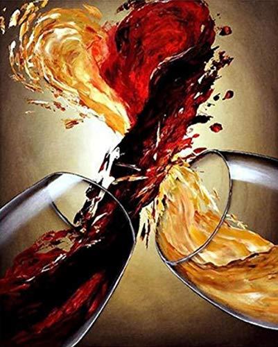Erwachsene Leinwand Ölgemälde Weinglas Rahmenlos, Malen Nach Zahlen DIY Ölgemälde Bunte Lion Leinwand Druck Wand Kunst Home Dekoration 40X50Cm(Rahmenlos)