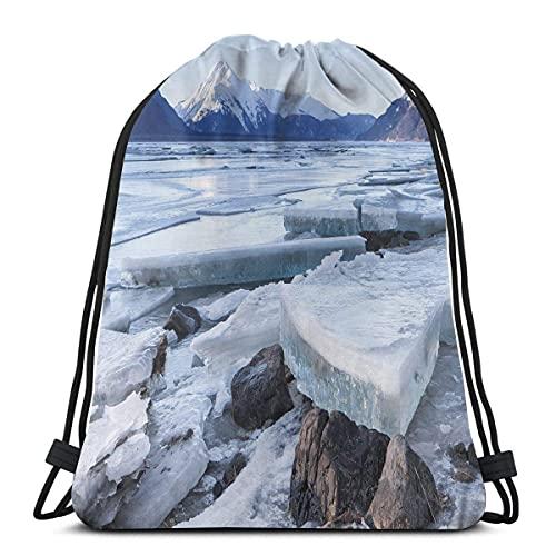 Chunks de hielo en el lado del río Chilkat en Norteamérica temporada de invierno, cierre de cuerda ajustable impreso con cordón mochilas bolsas
