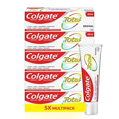 Colgate Total Original Toothpastes, 5 x Multi Action Cavity Protection Anti Tartar Pro Fluoride Toothpaste Formula, Bulk/Value Set - 5 x 100 ml