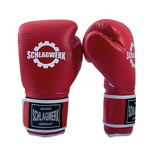 SCHLAGWERK Premium Boxhandschuhe Echtleder 12 oz TS Männer/Frauen (Rot/Weiss) mit Klettverschluss