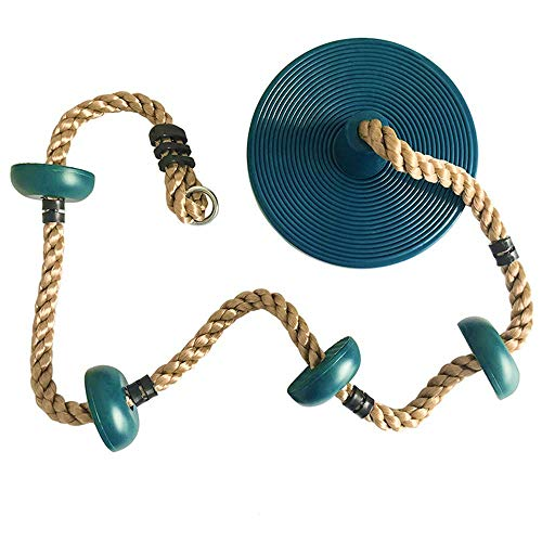 Columpio Repuesto para niños Asiento de Columpio con Cuerdas Ajustables en Altura Marco de Escalada Juguetes Deportivos para Interiores para Exteriores Asiento de Columpio Azul