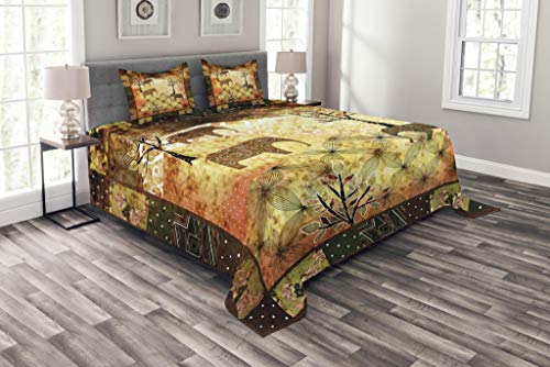 Ambesonne African Bedspread, Patchwork Inspired Pattern Grunge Vintage Featured Elephants Trees Roses Print, Decorative Quilted 3 Piece Coverlet Set with 2 Pillow Shams, Queen Size, Pale Brown