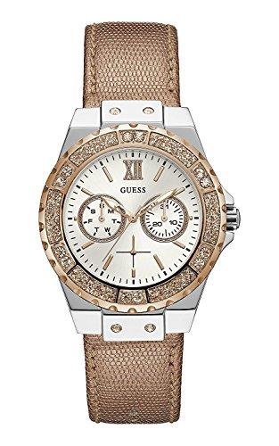 Guess Damen Analog Quarz Uhr mit Leder Armband W0023L7