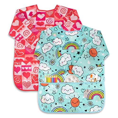 CUBACO 2 Pack Kids Art Smocks Children's Waterproof Painting Apron Artist Apron with Long Sleeve and 3 Pockets for Child 3-8 Years for Art Craft, Cooking, Baking, Feeding (Cute Heart Pattern)