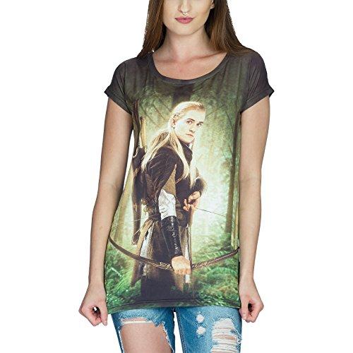 Elbenwald Herr der Ringe Girlie Shirt Legolas Loose Fit grün schwarz - XL