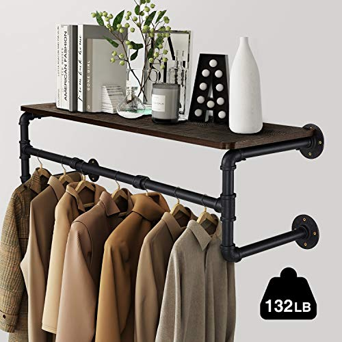 Greenstell Wall Mounted Clothes Rail with Wooden Plank, 105cm*26.5cm*25cm Industrial Pipe Style Clothes Rack, Detachable Space-Saving Wall Clothes Hanger Black, Four Base Garment Rack steampunk buy now online