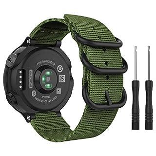 scheda moko forerunner 235 cinturino, morbido braccialetto regolabile in nylon + connettore metallico con fibbia classica per forerunner 235 lite/220/230/620/630/735xt - army green