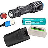 OLIGHT Warrior X Pro USB Rechargeable 2250 Lumen CREE LED long throw Tactical Flashlight, Battery, Magnetic Charging Cable with EdisonBright battery carry case Bundle