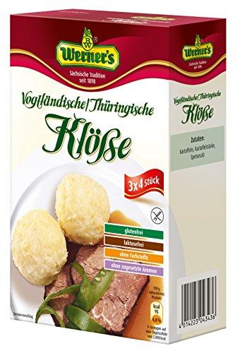 Werner´s Vogtländische / Thüringische Klöße 3x4 Stück, 6 Packungen / Karton, glutenfrei, laktosefrei, ohne Farbstoffe, ohne zugesetzte Aromen, zum selbstformen,