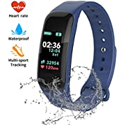 FJunHappy Fitness Tracker, Color Screen Activity Tracker with Blood Pressure Blood Oxygen,IP67 Waterproof Smart Watch with Heart Rate Sleep Monitor Calorie Counter Pedometer for Men, Women and Kids