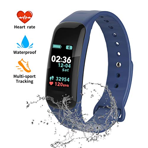 Fitness Tracker, Color Screen Activity Tracker with Blood Pressure Blood Oxygen,IP67 Waterproof Smart Watch with Heart Rate Sleep Monitor Calorie Counter Pedometer for Men, Women and Kids (Blue)