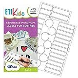 ETIKIDS , 40 Etichette termoadesive bianche, da STIRARE , in 4 formati diversi per contrassegnare indumenti, vestiti dei bambini a scuola ed asilo. (BASIC)