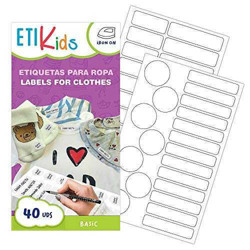 ETIKids 40 Etichette termoadesive bianche (BASIC), da stirare, in 4 formati diversi per contrassegnare indumenti, vestiti dei bambini a scuola ed asilo.