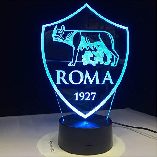 Mmzki Drucken As Roma 3D Lampe Usb 3Aa Batterie Led Nachtlampe Mit 7 Farben Ändern Berührungssensor Schalter Lava Lampe Dekorationen Für Zuhause