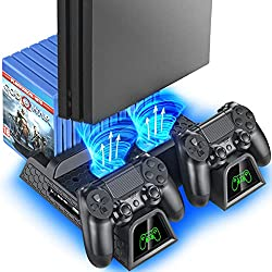 Multi-functional Design for Regular PS4/ PS4 Slim/ PS4 Pro Console: Cooling & storage your Playstation 4 console, with dual controller charger station and 12 game slots. LED Indicators & Fast Charging Speed: Let you know the charging status at a glan...