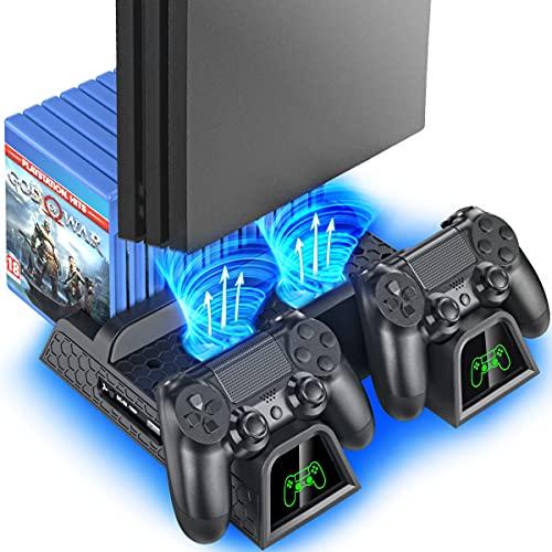 OIVO Soporte Vertical con Ventilador de Refrigeración para PS4/PS4 Pro/PS4 Slim, Estación de Carga del Mando ps4 con Indicadores LED y Almacenamiento para 12 Juegos