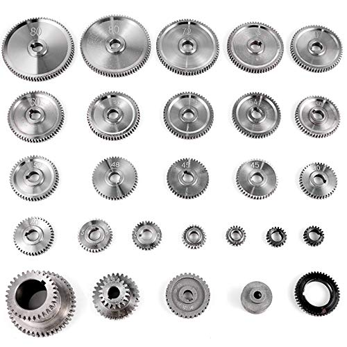 VEVOR 27PCS Metal Lathe Gears, Precise Mini Lathe Replacement Gears including Box Gear Set, Slotless Gears, Metal Motor Gears, Variable Gears, Belt Gear for CJ0618 Mini Lathes & Milling Machines