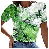 Camiseta de mujer de verano, elegante, de cuello redondo, túnica, con impresión 3D de ballena, océano, deportiva, para adolescentes, niñas, informal, ajustada, de corte ajustado, estilo informal A02 M