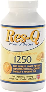 Res-Q 1250 Omega-3 Lemon Coated Fish Oil 200 Capsules