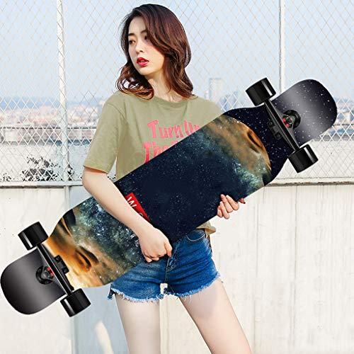 107cm Freeride Skateboard Longboard Wide Deck Dancing Longboards Skateboards 8-lagiges kanadisches Ahornholzdeck mit vollständig montierten glatten PU-Rollen Maximale Belastung 440 Pfund für Anfänge