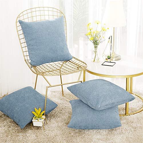 Deconovo Set of 4 Blue Cushion Covers Faux Linen Chenille Cushion Covers Bedroom Cushion Covers for Pillows with Invisible Zipper Light Blue 45x45cm