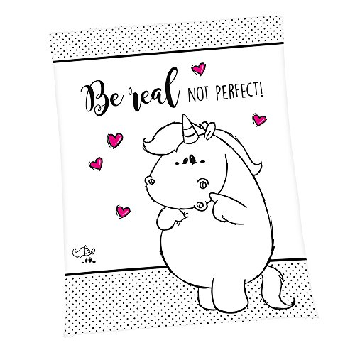 Pummel & Friends - Flauschdecke (150x200, schwarz/weiß) - Pummeleinhorn (Be Real)