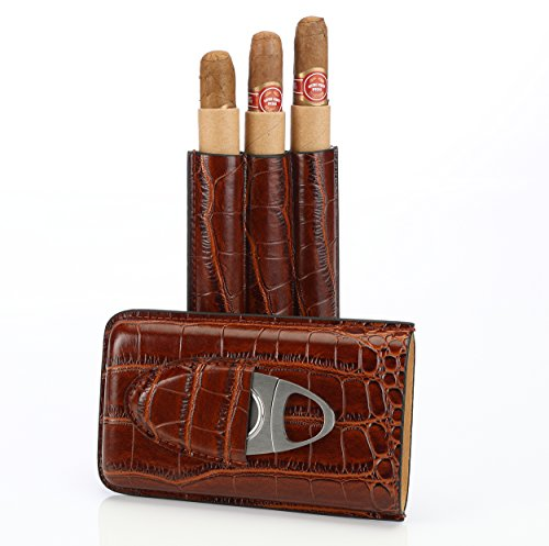 Brown Leather Cigar Case Holder for 3 Cigars with Cutter Set  Perfect Size for Shirt Pockets Golf Cart or Travel