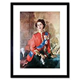 Painting Portrait Queen Elizabeth II England Black Framed