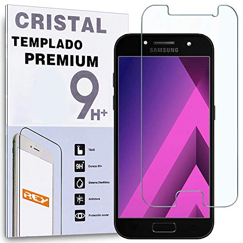 REY Protector de Pantalla para Samsung Galaxy A3 2017, Cristal Vidrio Templado...