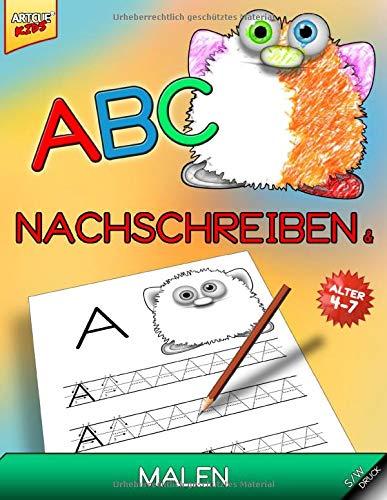 ABC - Nachschreiben und Malen: Das Malbuch mit niedlichen Monstern für Vorschulkinder - mit Klein- und Großbuchstaben das Alphabet schreiben lernen