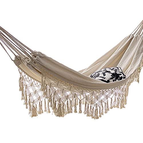 TNSYGSB Hamaca colgante cuerda columpio hecho a mano de algodón tejido Boho estilo con flecos de ganchillo para patio trasero, camping, patio, jardín y cama de campamento interior