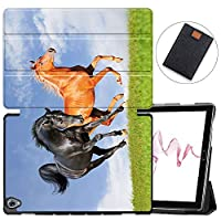 MAITTAO Compatible with Huawei MediaPad M6 10.8 2019 Case, Slim Leather Folio Smart-Shell Stand Cover with Auto Wake/Sleep for Huawei Mediapad M6 10.8 Inch 2019 Released Tablet, Akhal-Teke Horse 6