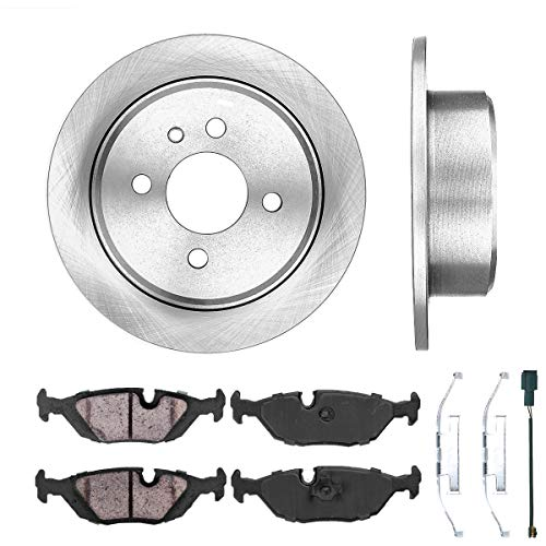[ E30 ] REAR 258 mm Premium OE 4 Lug [2] Brake Disc Rotors + [4] Ceramic Brake Pads + Sensors + Hardware CRK12553